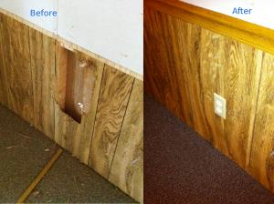 Hole in paneling fix - Before and after: Before and after photo of a paneling repair. A hole was created by vandals and a patch panel was created from a piece of paneling from a closet.